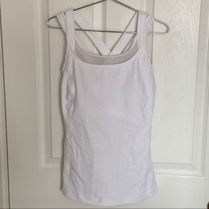 Lululemon white tank top with built in sports bra